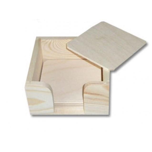 Ξύλινη Θήκη με 6 Τετράγωνα Σουβέρ 11,2x11,2x5,5cm