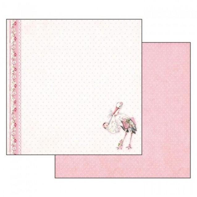 Stamperia Χαρτί Scrapbooking 30,5x30,5cm Διπλής Όψης Baby Girl Stork