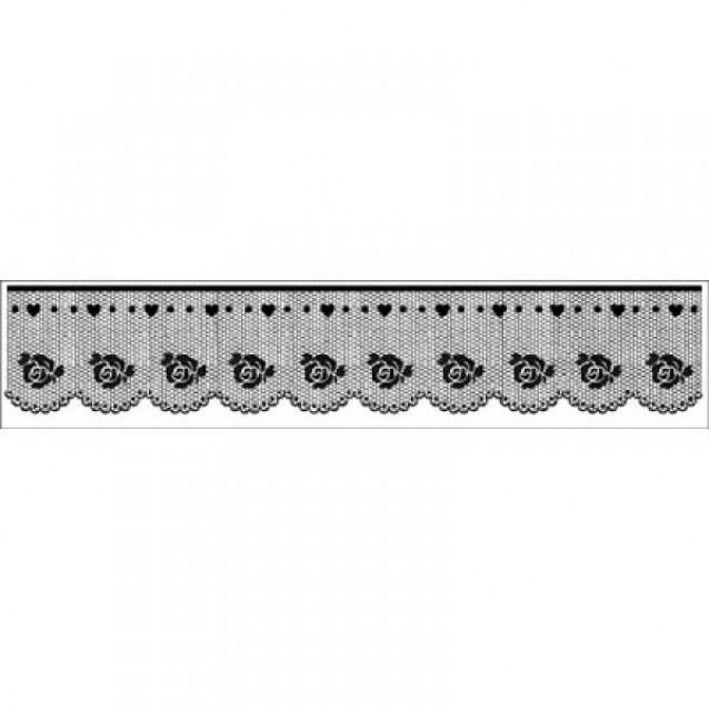 Stamperia Ακρυλική Σφραγίδα 4x18cm Δαντέλα με Τριαντάφυλλο
