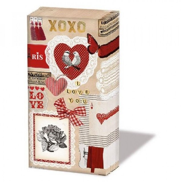 10 Χαρτομάντηλα 21,5x22cm Love Ticket