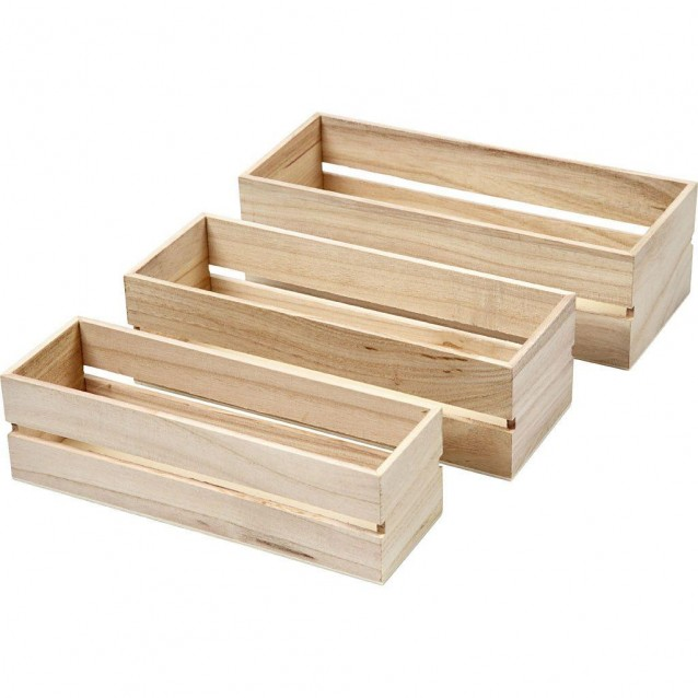 3 Ξύλινα Καφασάκια 22-23,5-25cm (Υψος 6,5-7,6 cm)