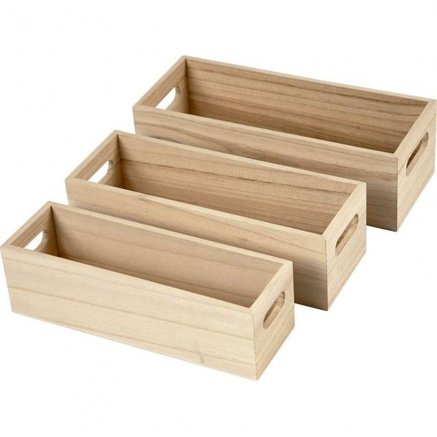 3 Ξύλινα Καφασάκια με Χερούλι 22-23,5-25cm (Ύψος 6,5-7,6 cm)