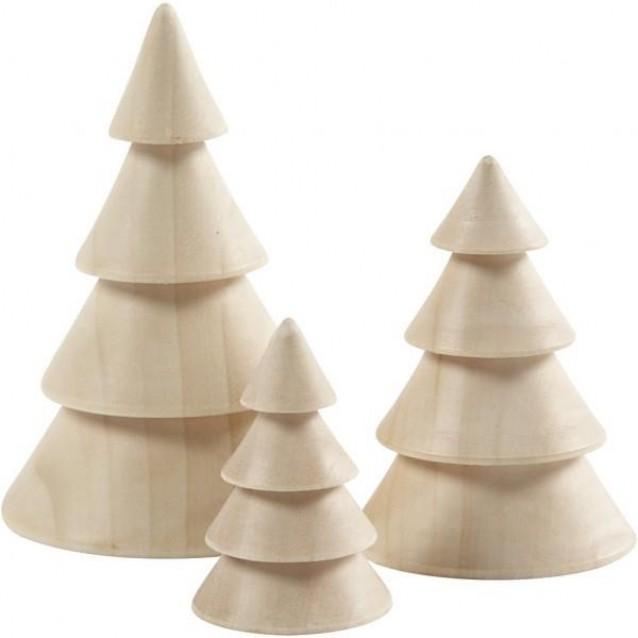 3 Ξύλινα Διακοσμητικά Έλατα ύψους 5-7,5 & 10cm