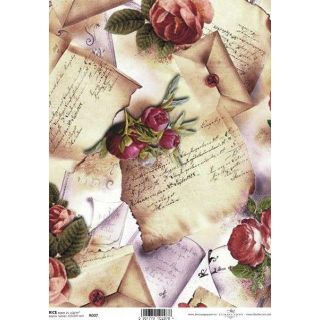Itd. Collection Ριζόχαρτο Decoupage A4 (21x29,7cm) Old Letters With Flowers