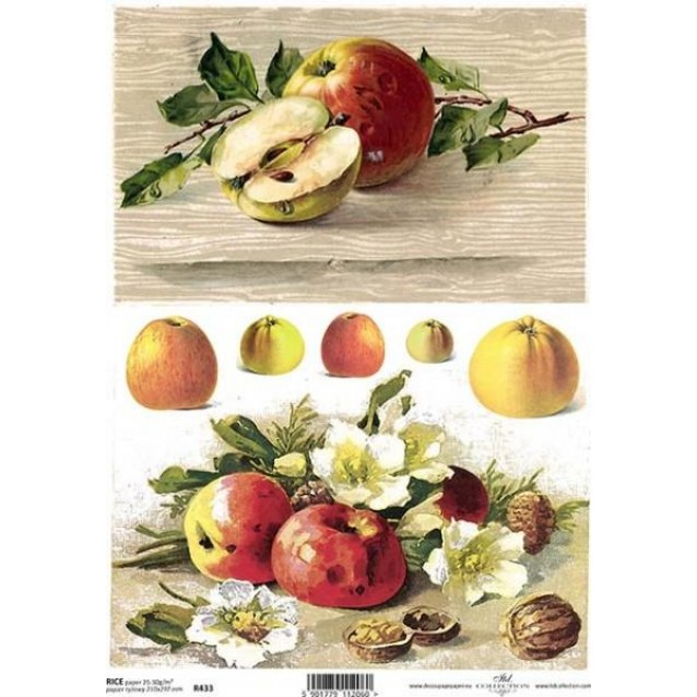 Itd. Collection Ριζόχαρτο Decoupage A4 (21x29,7cm) Apples And Wild Flowers