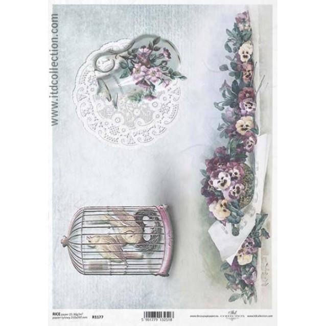 Itd. Collection Ριζόχαρτο Decoupage A4 (21x29,7cm) Bird Cage, Jug, Pansies