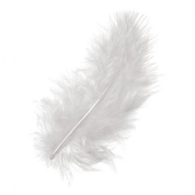 15 Φτερά Marabu Λευκά 12cm