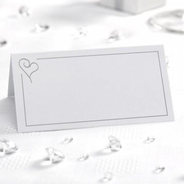 50 Καρτάκια Θέσεων Contemporary Heart Ασημί