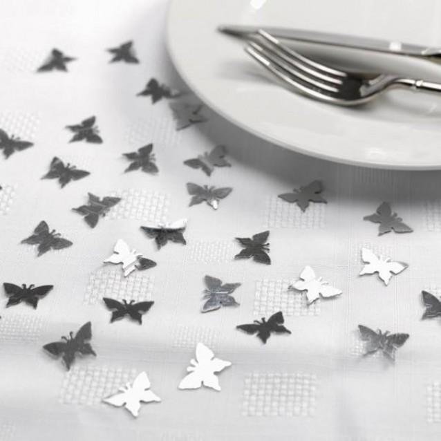 10 Κονφετί Πεταλούδες Ασημί