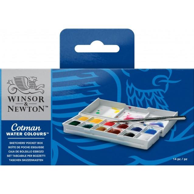 Winsor & Newton Cotman Κασετίνα Mini με 12 Πλακάκια Ακουαρέλας & Πινέλο