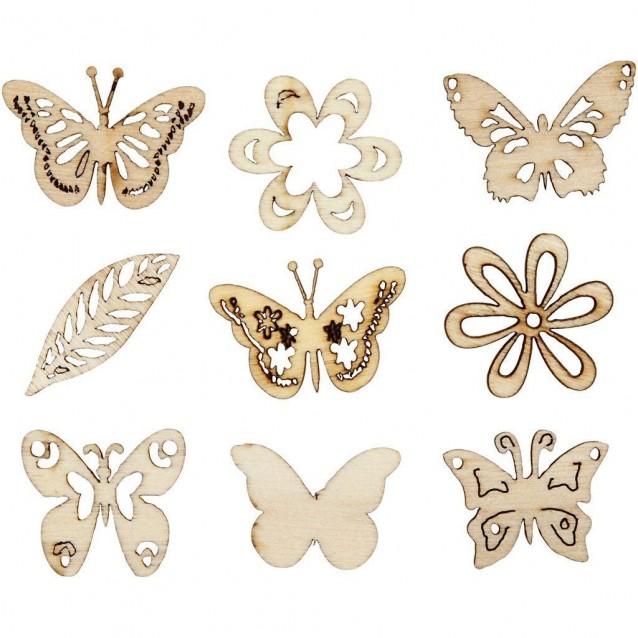 45 Ξύλινα Διακοσμητικά Φ 28mm Πεταλούδες σε 9 Σχέδια