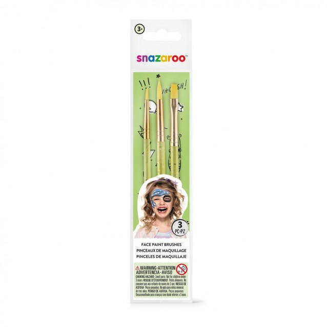 Snazaroo 3 Πινέλα Face Painting Unisex