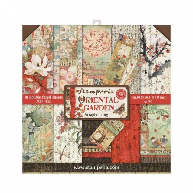Stamperia 10 Χαρτιά Scrapbooking 20,3x20,3cm Διπλής Όψης Oriental Garden