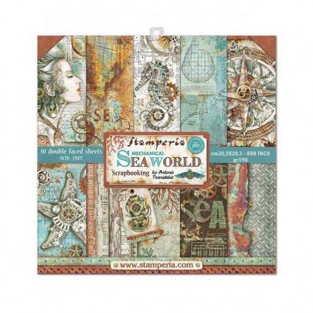 Stamperia 10 Χαρτιά Scrapbooking 20,3x20,3cm Διπλής Όψης Sea World