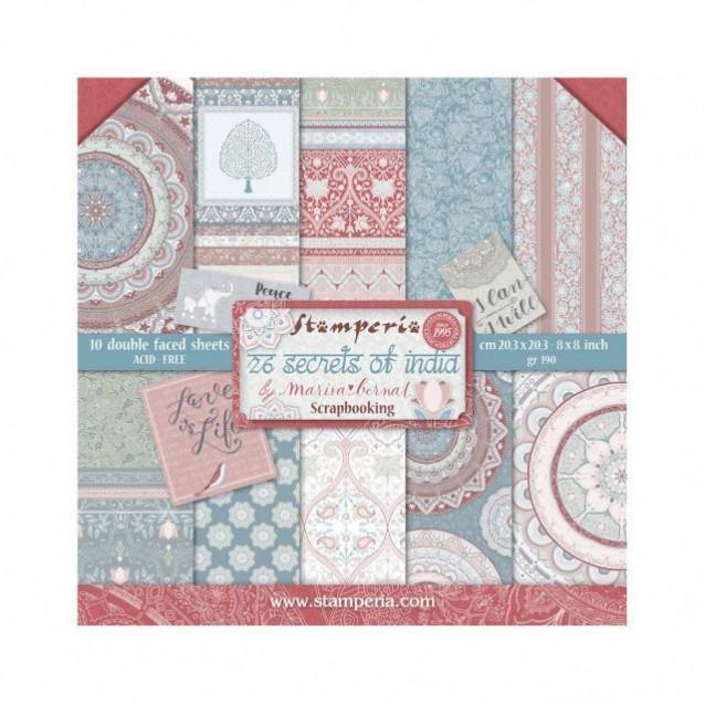 Stamperia 10 Χαρτιά Scrapbooking 20,3x20,3cm Διπλής Όψης Secrets of India