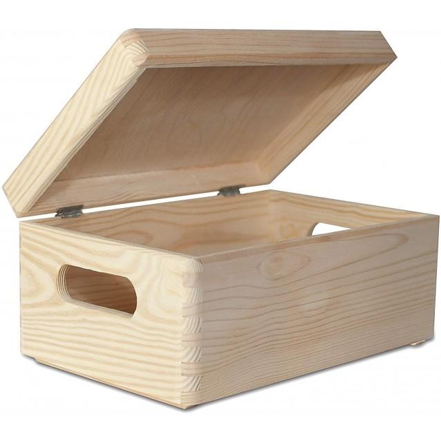 Ξύλινο Κουτί Αποθήκευσης 30x20x14cm (ΜXΠXΥ) με λαβές