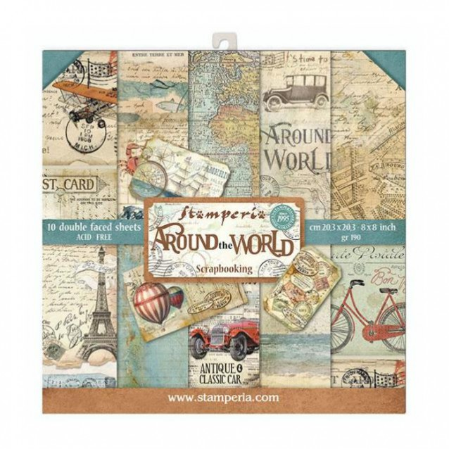 Stamperia 10 Χαρτιά Scrapbooking 20,3x20,3cm Διπλής Όψης Around the World