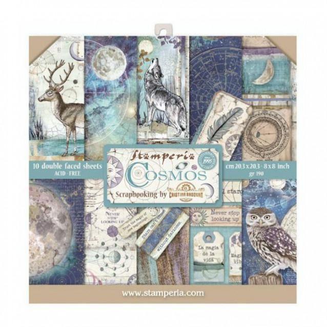 Stamperia 10 Χαρτιά Scrapbooking 20,3x20,3cm Διπλής Όψης Cosmos