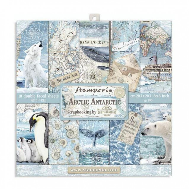 Stamperia 10 Χαρτιά Scrapbooking 20,3x20,3cm Διπλής Όψης Antarctic
