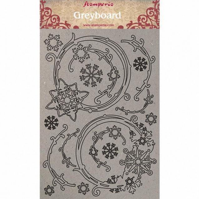Stamperia A4 Greyboard /1mm Snowflakes and Garlands