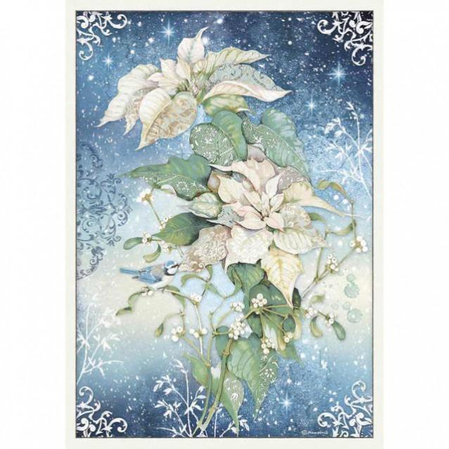 Stamperia Ριζόχαρτο Decoupage A3 Poinsettia White