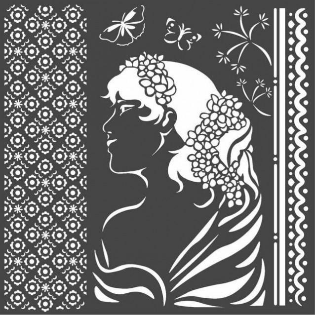 Stamperia Χονδρό Στένσιλ 0,5mm 18x18cm Lady Side