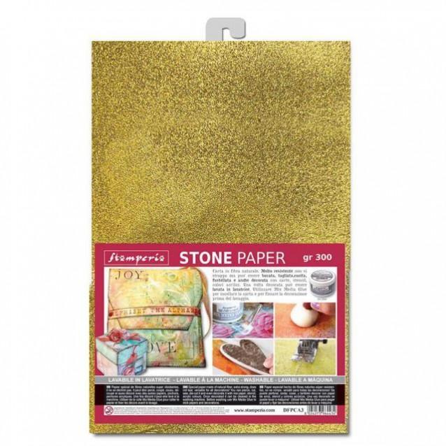 Stamperia Stone paper A4 (21x29,7cm) Gold