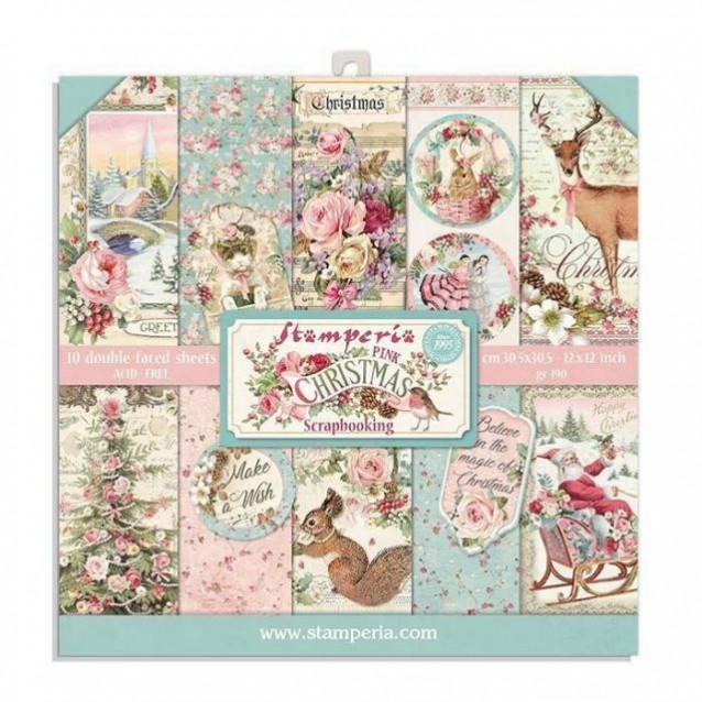 Stamperia 10 Χαρτιά Scrapbooking 20,3x20,3cm Διπλής Όψης Pink Christmas