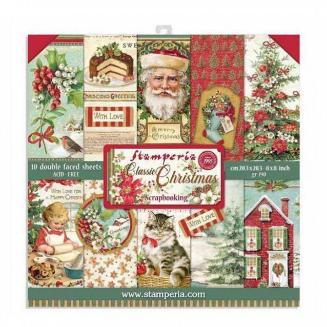 Stamperia 10 Χαρτιά Scrapbooking 20,3x20,3cm Διπλής Όψης Classic Christmas
