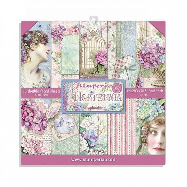 Stamperia 10 Χαρτιά Scrapbooking 20,3x20,3cm Διπλής Όψης Double Face Hortensia