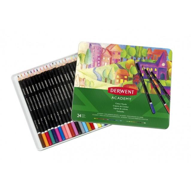 Derwent Academy Μεταλλική Κασετίνα Με 24 Χρωματιστά Μολύβια