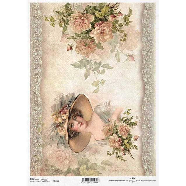 Itd. Collection Ριζόχαρτο Decoupage A4 (21x29,7cm) Lady And Roses