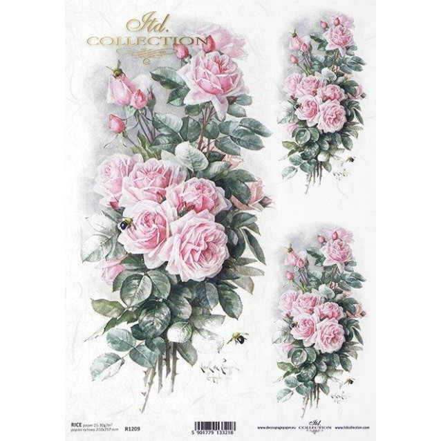 Itd. Collection Ριζόχαρτο Decoupage A4 (21x29,7cm) Pink Roses I