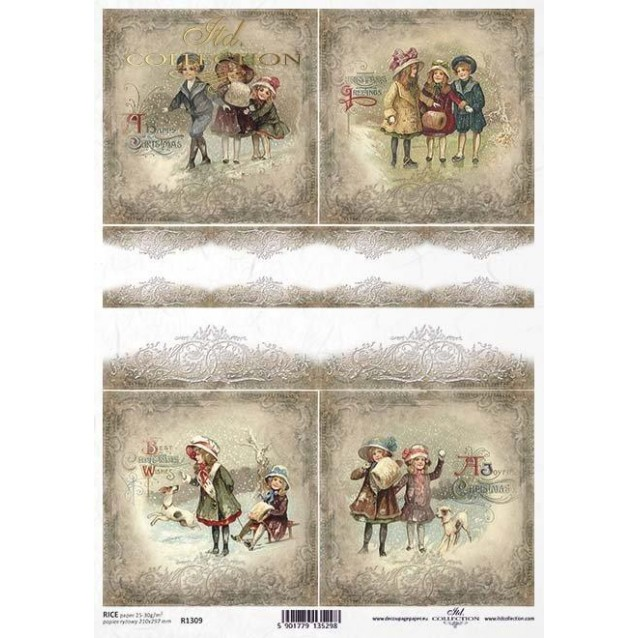 Itd. Collection Ριζόχαρτο Decoupage A4 (21x29,7cm) Christmas, Winter And Kids