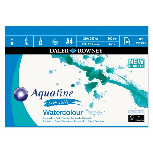 Daler Rowney Μπλοκ Ακουαρέλας Aquafine 12Φ A4 (21x29,7cm) 300gr Hot Pressed