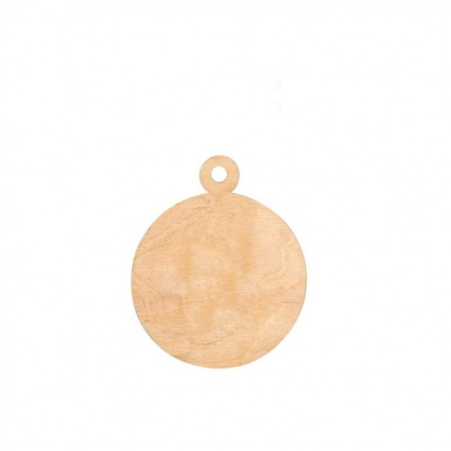 Rosa 4 Ξύλινες Χριστουγεννιάτικες Μπάλες Πλακέ Φ 7,5cm