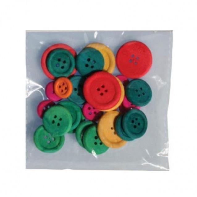 30 Ξύλινα Χρωματιστα Κουμπιά Φ 7 - 18 - 22 mm