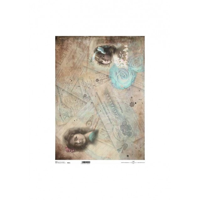 Itd. Collection Ριζόχαρτο Decoupage A3 (42x29,7cm) Blue Flower And Girl