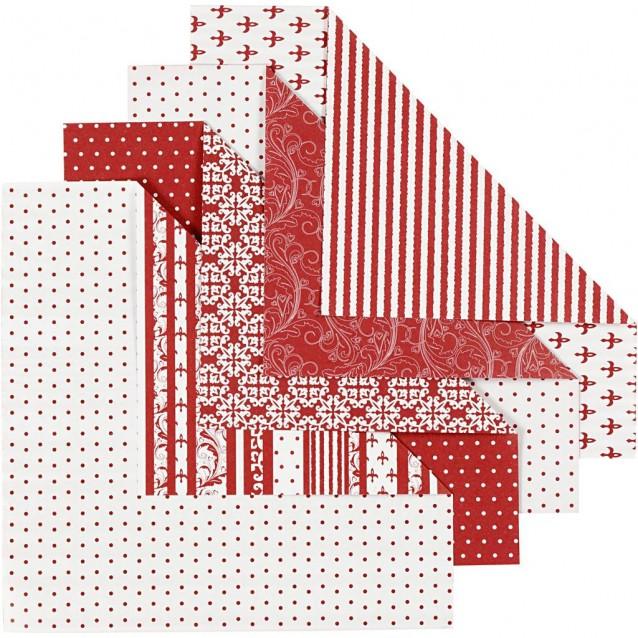 50 Χαρτιά Origami 15x15 cm, 80 gsm Red & White