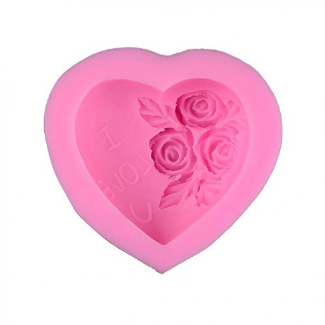 Καλούπι Σιλικόνης 7x6,8x3,1cm Καρδιά/Τριαντάφυλλα