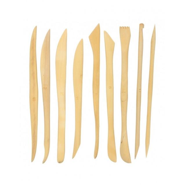 9 Ξύλινες Γλυφίδες Πηλού 15cm