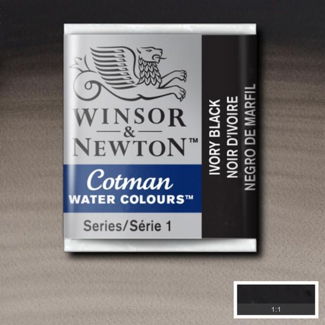 Winsor & Newton Half Pan Cotman 331 Ivory Black