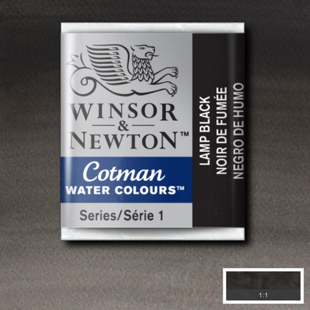 Winsor & Newton Half Pan Cotman 337 Lamp Black