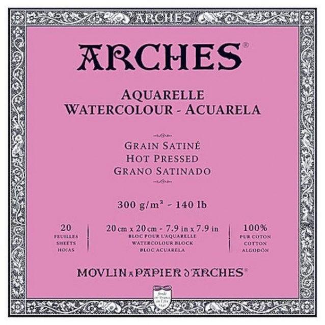 Arches Μπλοκ Ακουαρέλας Hot Pressed (Satine) 300gr 20x20cm 20 φύλλων