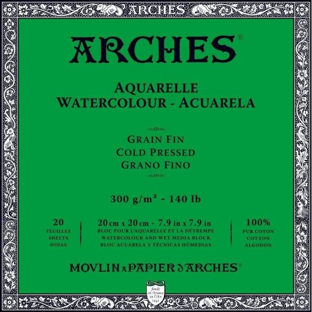 Arches Μπλοκ Ακουαρέλας Cold Pressed (Λεπτόκοκκο) 300gr 20x20cm 20 φύλλων