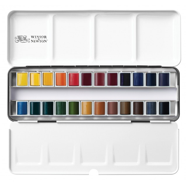 Winsor & Newton Professional Watercolor Black Box με 24 Half Pans