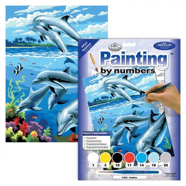 Ζωγραφική με Νούμερα 20x30cm Δελφίνια