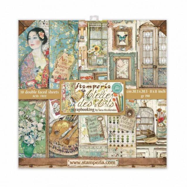 Stamperia 10 Χαρτιά Scrapbooking 20,3x20,3cm Διπλής Όψης Atelier des Arts