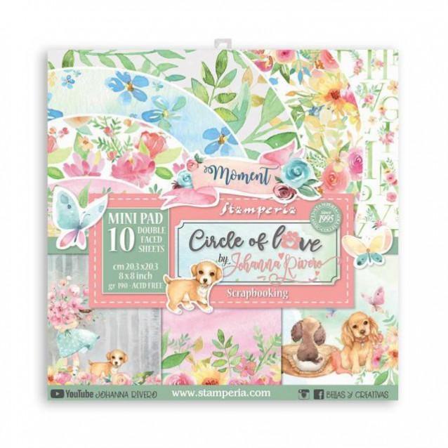 Stamperia 10 Χαρτιά Scrapbooking 20,3x20,3cm Διπλής Όψης Circle of Love