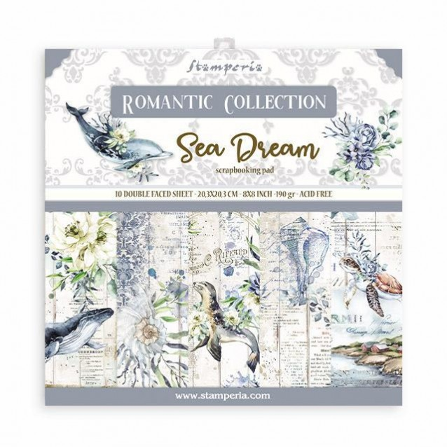 Stamperia 10 Χαρτιά Scrapbooking 20,3x20,3cm Διπλής Όψης Romantic Sea Dream